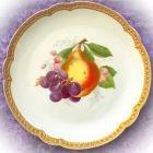 Старинная тарелка с фруктами Груша и виноград Розенталь