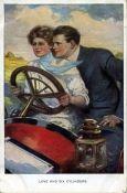 Старинная открытка Любовь и шесть цилиндров