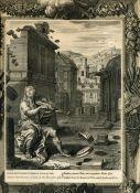 Антикварная гравюра Амфитрион разрушает стены Фив игрой на лире