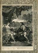 Антикварная гравюра Мелеагр преподносит Аталанте голову Вепря