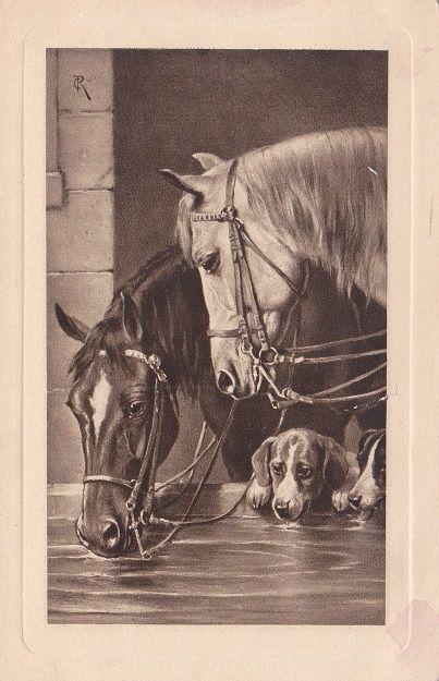 Старинные открытки с лошадьми 30
