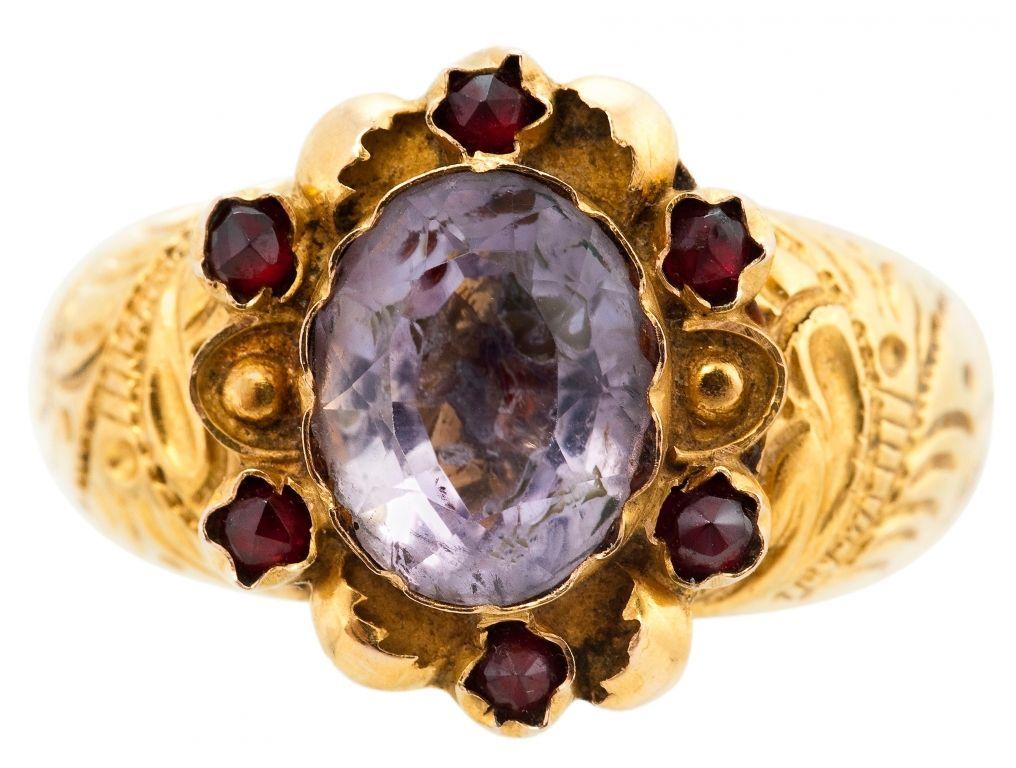 мужской перстень с аметистом серебро | Перстень с